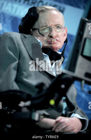 Professor Stephen Hawking attends the New Space Exploration Initiative 'Breakthrough Starshot' Announcement at One World Observatory on April 12, 2016 in New York City.   Photo by Dennis Van Tine//UPI - Stock Photo