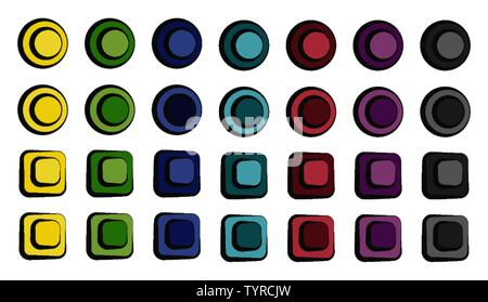 Set of colorful cartoon buttons in vector. There are circles and squares. These are switches that can be squeezed. These colors are yellow, green, blu - Stock Photo