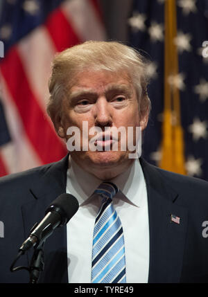 Presumptive Republican nominee for President Donald Trump speaks at a press conference at the New York Hilton on July 16, 2016 in New York City. At this press conference, Trump formally introduced Indiana Gov. Mike Pence as his choice for running mate.   Photo by Bryan R. Smith/UPI - Stock Photo