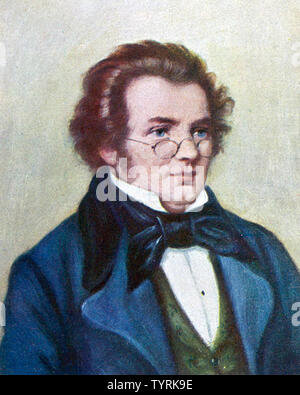FRANZ SCHUBERT (1797-1828) Austrian composer illustration based on an 1825 watercolour - Stock Photo