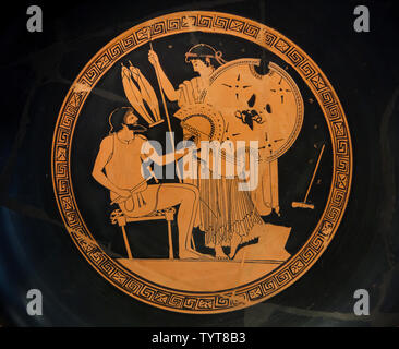 Workshop of Hephaestus depicted in the Attic red-figure drinking cup by the Foundry Painter dated from around 490-480 BC found in Vulci, Italy, now on display in the Altes Museum in Berlin, Germany. Handing over the weapons for Achilles is depicted. - Stock Photo