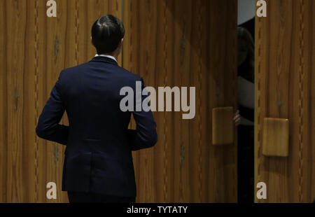 Senior Advisor to the President of the United States Jared Kushner makes his exit from a Security Council meeting on the situation in the Middle East in the Security Council Chamber at the United Nations Headquarters in New York City on February 20, 2018.    Photo by John Angelillo/UPI - Stock Photo