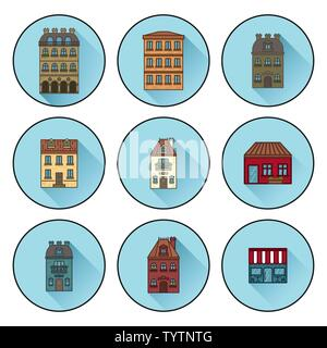 Icons with buildings built in Paris. flat linear house icons. vector illustration - Stock Photo