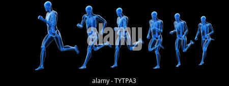 3d rendered illustration of a running mans skeleton - Stock Photo