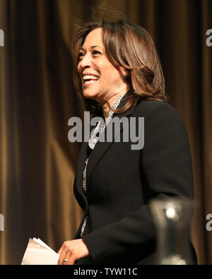 U.S. Senator Kamala Harris of California, a 2020 presidential candidate, speaks at the 28th National Action Network Convention held at the Sheraton Times Square Hotel on April 5, 2019 in New York City. The three-day convention features panel discussions and workshops by civil rights activists, clergy and politicians.     Photo by Monika Graff/UPI - Stock Photo