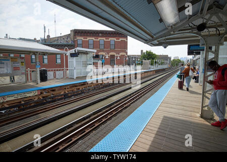 view of the blue line L train station at Damen Chicago IL USA - Stock Photo