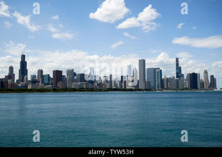 Chicago city skyline and lake michigan waterfront Chicago IL USA - Stock Photo