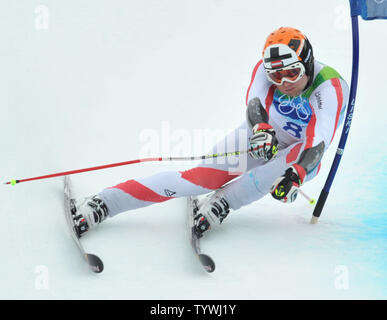 Austria's Romed Baumann competes in the Men's Giant Slalom during the 2010 Vancouver Winter Olympics in Whistler, Canada on February 23, 2010.   UPI/Kevin Dietsh - Stock Photo