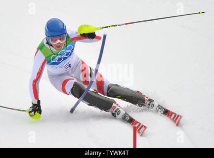 Austria's Benjamin Raich competes in the Men's' Slalom during the 2010 Vancouver Winter Olympics in Whistler, Canada on February 27, 2010.  UPI/Kevin Dietsch - Stock Photo