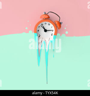 Time is running out concept shows alarm clock that is dissolving down by melting in pastel blue liquid substance . Surreal style image - Stock Photo