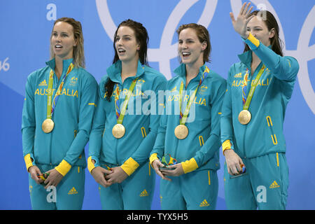 Australia's 4x100M relay team from left  in the Olympic Aquatics Stadium at the 2016 Rio Summer Olympics in Rio de Janeiro, Brazil, on August 5, 2016. Horton won gold with a time of 3:41.55.  Photo by Matthew Healey/UPI..Bronte Campbell (C) Emma McKeen (R) Brittaney Elmsley pool - Stock Photo