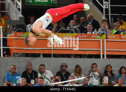 Fabian Hambuechen of Germany competes on the Horizontal Bar Final at the Olympic Arena of the 2016 Rio Summer Olympics in Rio de Janeiro, Brazil, August 16, 2016.          Photo by Kevin Dietsch/UPI - Stock Photo