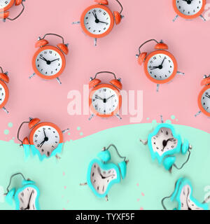 Time is running out concept shows red alarm clocks that is dissolving down by melting in pastel blue liquid substance. Surreal style image - Stock Photo
