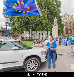 London / UK - June 26th 2019 - Pro-EU anti-Brexit protester holds European Union and Union Jack flags opposite Parliament in Westminster - Stock Photo