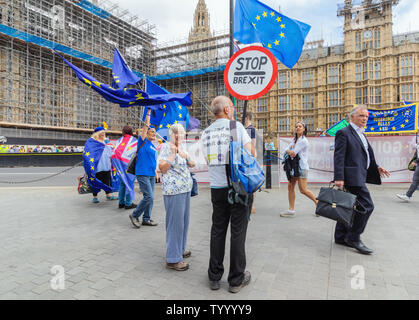 London / UK - June 26th 2019 - Pro-EU anti-Brexit protesters holding Stop Brexit signs and European union flags at a demonstration outside Parliament - Stock Photo