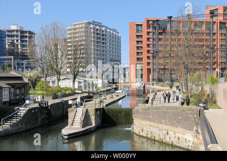 St Pancras Lock and Gasholder Park, Regent's Canal, King's Cross, London, England, UK - Stock Photo