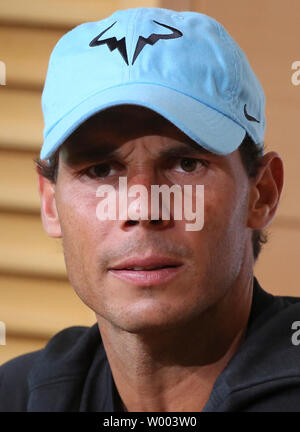 Rafael Nadal of Spain attends a press conference after winning his French Open men's third round match against Richard Gasquet of France at Roland Garros in Paris on June 2, 2018. Nadal defeated Gasquet 6-3, 6-2, 6-2 to advance to the fourth round.   Photo by David Silpa/UPI - Stock Photo