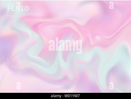 Holographic abstract soft pastel colors fluid background. Wonderful magic backdrop. You can use for modern style trends 80s, 90s for creative design. - Stock Photo