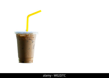 Iced coffee in a plastic glass on a white background with clipping path. - Stock Photo