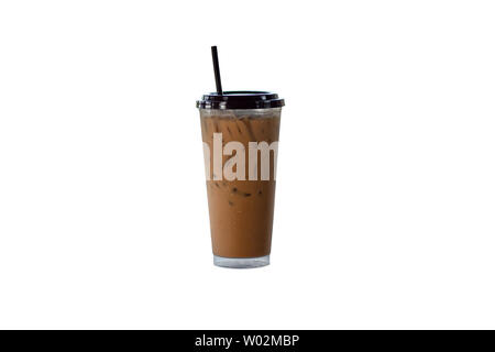 Iced coffee in a plastic glass on a white background. - Stock Photo