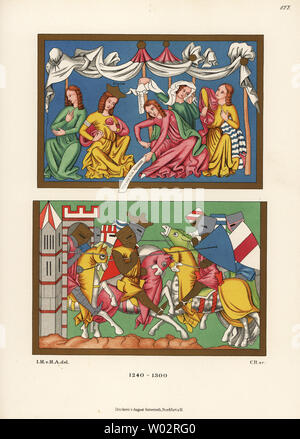 Costumes of the 13th century. King and ladies sending knights off to battle, and king and his knights in combat with lance and shield. From miniatures on a parchment manuscript of Tristan in the Bavarian State Library. Chromolithograph from Hefner-Alteneck's Costumes, Artworks and Appliances from the Middle Ages to the 17th Century, Frankfurt, 1889. Illustration by Dr. Jakob Heinrich von Hefner-Alteneck, lithographed by C.R. Dr. Hefner-Alteneck (1811 - 1903) was a German museum curator, archaeologist, art historian, illustrator and etcher. - Stock Photo
