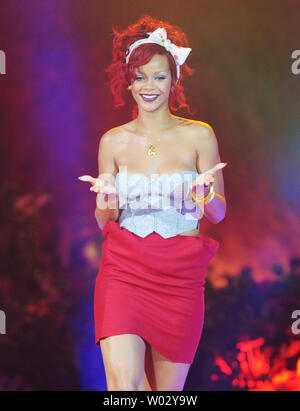 Barbadian singer Rihanna launches the Christmas lights decorations at Westfield Shopping Centre in London on November 4, 2010.     UPI/Rune Hellestad - Stock Photo