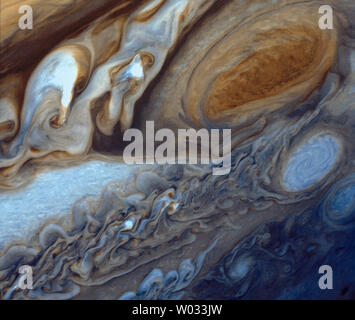 Jupiter's Great Red Spot is viewed by the Voyager I spacecraft on March 5, 1979.  The images was re-processed in 1998, and re-released on March 20, 2014.   The Great Red Spot is a raging storm three and a half times the size of Earth located in JupiterÕs southern hemisphere. The unique photos and observations by Voyager I are still being explore to this day.   UPI/NASA .. - Stock Photo