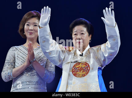 Han Hak-Ja, wife of late Unification Church founder Sun Myung Moon attends the Blessing Ceremony of the Family Federation for World Peace and Unification at the CheongShim Peace World Center in Gapyeong, South Korea, on September 7, 2017. Photo by Keizo Mori/UPI - Stock Photo
