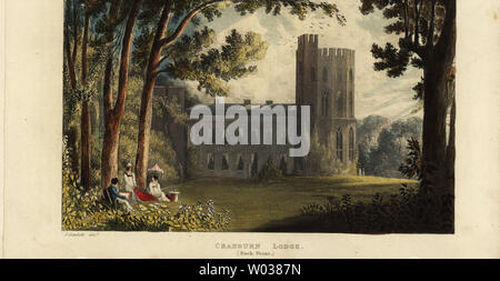 Cranburn or Cranbourne Lodge, keeper's lodge on the royal hunting grounds of Cranbourne Chase. Rear view showing the tower. Handcoloured copperplate engraving after an illustration by John Gendall from Rudolph Ackermann's Repository of Arts, London, 1823. - Stock Photo