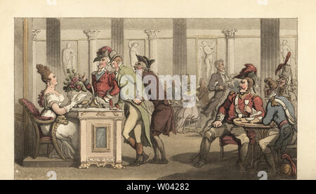 Young English gentleman flirting with the Fair Limonadiere in the Cafe de Mille Colonnes, Palais Royal, Paris. Waiters bringing hot chocolate to fashionable ladies, soldiers and officers. Handcoloured copperplate engraving after an illustration by Thomas Rowlandson from William Combe's The Dance of Life, Rudolph Ackermann, London, 1817. - Stock Photo