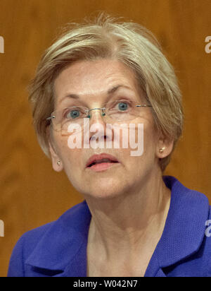 United States Senator Elizabeth Warren (Democrat of Massachusetts) listens as US Secretary of Education Dr. John King testifies before the US Senate Committee on Health, Education, Labor & Pensions hearing on 'ESSA Implementation: Update from the U.S. Secretary of Education on Proposed Regulations' on Capitol Hill in Washington, DC on Wednesday, June 29, 2016.Credit: Ron Sachs / CNP /MediaPunch - Stock Photo