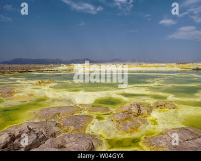 Dallol vulcano sulphur hot springs - Stock Photo