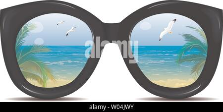 Summer sunglasses with a reflection of a tropical beach, palm trees, sea, seagulls. Glasses on a white background. - Stock Photo