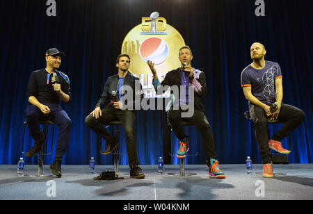 Member of the band Coldplay, from left to right, John Buckland, Guy Berryman, Chris Martin and Will Champion, talk about their upcoming half time performance for Super Bowl 50 during a press conference in San Francisco on February 4, 2016. The Denver Broncos will play the Carolina Panthers in Super Bowl 50 on Sunday, February 7. Photo by Kevin Dietsch/UPI - Stock Photo