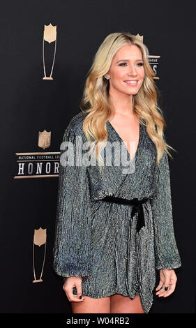 Fox Sports broadcaster Kristine Leahy arrives on the red carpet at the Fox Theatre for the NFL Honors during Super Bowl LIII week in Atlanta on February 2, 2019.   Photo by David Tulis/UPI - Stock Photo