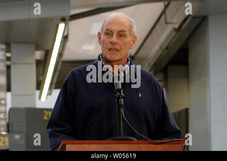 Secretary of Homeland Security John Kelly speaks with reporters during a press availability after meeting with federal, state and local law enforcement officials at the San Ysidro Port of Entry in San Ysidro, California on February 10, 2017. Photo by Howard Shen/UPI - Stock Photo