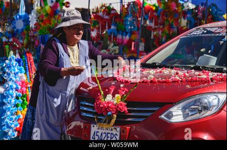 Car ready for blessing, a unique ritual at the Basílica de Nuestra Señora in Copacabana, Bolivia - Stock Photo