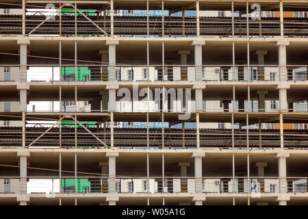 Building under construction background. Grid structure design with straight lines. Modern urban architecture of business center, private apartment, pa - Stock Photo