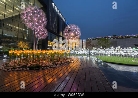 Henan Zhengzhou Kai Lin Center National Development Bank China Travel Bank Blues Moment Lighting Landscape Project - Stock Photo