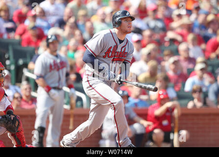 Atlanta Braves Freddie Freeman watches his RBI single go into right field against the St. Louis Cardinals in the sixth inning at Busch Stadium in St. Louis on September 11, 2011.  The RBI was the first Atlanta run of the game as St. Louis won, 6-3. UPI/Bill Greenblatt - Stock Photo