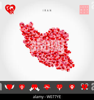 I Love Iran. Red and Pink Hearts Pattern Map of Iran Isolated on Grey Background. Love Icon Set. - Stock Photo