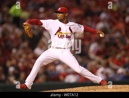St. Louis Cardinals pitcher Sam Freeman works against the Los Angeles Dodgers in the seventh inning  at Busch Stadium in St. Louis on August 8, 2013. Los Angeles won the game 5-1.   UPI/Bill Greenblatt - Stock Photo