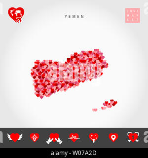 I Love Yemen. Red and Pink Hearts Pattern Map of Yemen Isolated on Grey Background. Love Icon Set. - Stock Photo