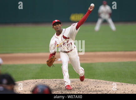 St. Louis Cardinals pitcher Sam Freeman delivers a pitch to the Chicago Cubs in the sixth inning at Busch Stadium in St. Louis on September 28, 2013. St. Louis defeated Chicago 6-2.  UPI/Bill Greenblatt - Stock Photo