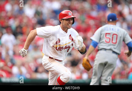 St. Louis Cardinals Peter Bourjos legs out a RBI single in the eighth inning against the Chicago Cubs at Busch Stadium in St. Louis on April 13, 2014.  St. Louis won the game 6-4. UPI/Bill Greenblatt - Stock Photo