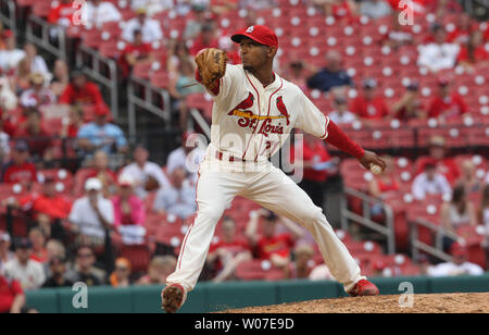 St. Louis Cardinals pitcher Sam Freeman delivers a pitch to the San Francisco Giants in the seventh inning at Busch Stadium in St. Louis on May 31, 2014. St. Louis defeated San Francisco 2-0. UPI/Bill Greenblatt - Stock Photo