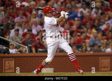 St. Louis Cardinals Peter Bourjos swings, hitting a two run home run in the sixth  inning against the Los Angeles Dodgers at Busch Stadium in St. Louis on July 20, 2014.   UPI/Bill Greenblatt - Stock Photo