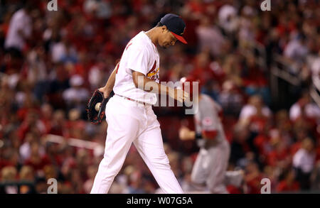 St. Louis Cardinals pitcher Sam Tuivailala walks back to the dugout after giving up a three run home run to Cincinnati Reds Devin Mesoraco in the eigth inning at Busch Stadium in St. Louis on September 21, 2014.  UPI/Bill Greenblatt - Stock Photo