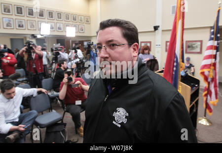 Ferguson, Missouri Mayor James Knowles leaves a press conference following the announcement that Police Chief Thomas Jackson will step down, in Ferguson, Missouri on March 11, 2015. Jacksons departure is being called a mutual separation and will be effective March 19. Jackson is leaving following a Justice Department report that accused the city's police and court system of racial bias.    Photo by Bill Greenblatt/UPI