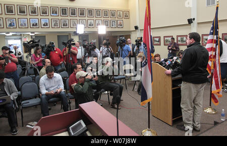 Ferguson, Missouri Mayor James Knowles tells reporters that Police Chief Thomas Jackson will step down, in Ferguson, Missouri on March 11, 2015. Jacksons departure is being called a mutual separation and will be effective March 19. Jackson is leaving following a Justice Department report that accused the city's police and court system of racial bias.    Photo by Bill Greenblatt/UPI